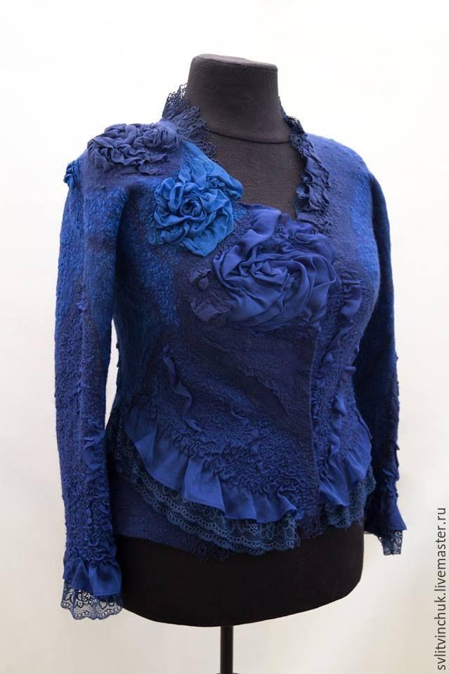 Купить Жакет валяный нунофелтинг Романтичный синий - тёмно-синий, абстрактный…