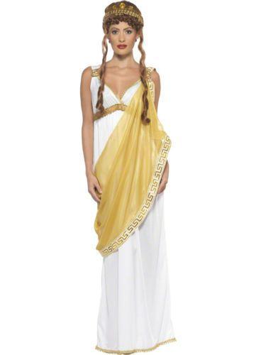 Ladies Helen of Troy Historical Greek Goddess Roman Toga Fancy Dress Costume