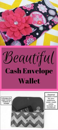 Cash Envelope Wallet with Dividers, Coupon Holder --for use with the Dave Ramsey System-- Hot Pink Medallion #afflink #daveramsey #cash