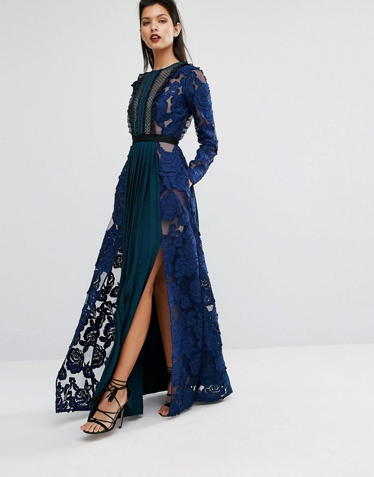 Self Portrait Thea Maxi Dress with Pleats