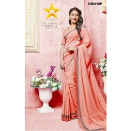 Peach Swarovski Work Saree This stunning Peach saree is accentuated with swarovski work and silk thread embroidery along the border adds a touch of elegance to the saree.It is paired with matching blouse with all over silk thread floral jaal embroidery on it.