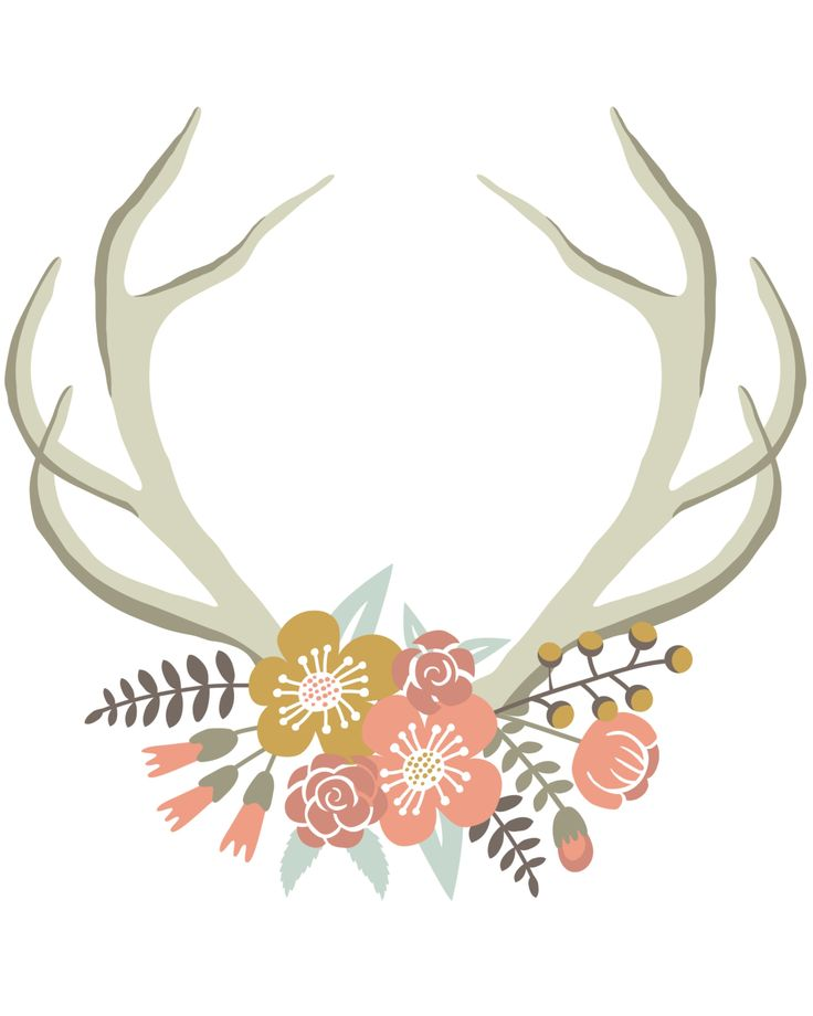 Floral Deer Crown free nursery or gallery wall printable. Download for freed