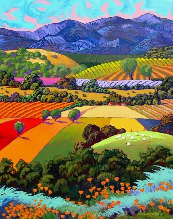 "Gene Brown ""Poppies and Rolling Hills"" Southwest Gallery -"