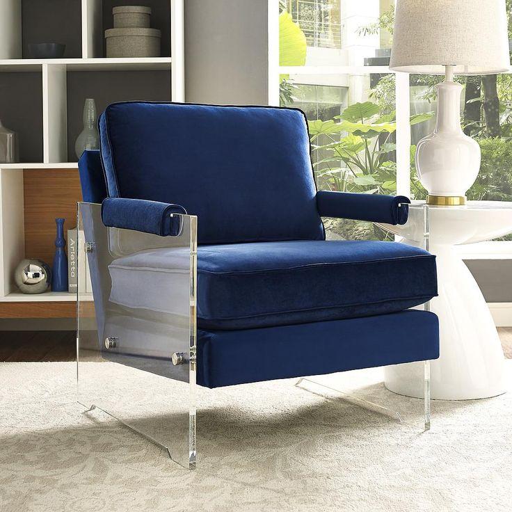Serena Navy Velvet Lucite Chair