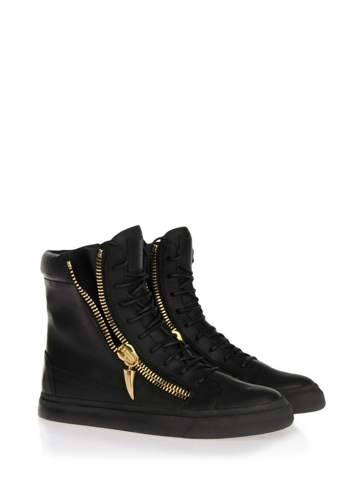 Newest Quotests Giuseppe Zanotti Leather Black Croc effect Sneakers