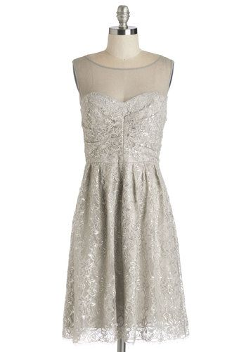 Frost and Found Dress. No look captures the seasons sparkle more spectacularly than this ethereal lace party dress. #gold #prom #modcloth