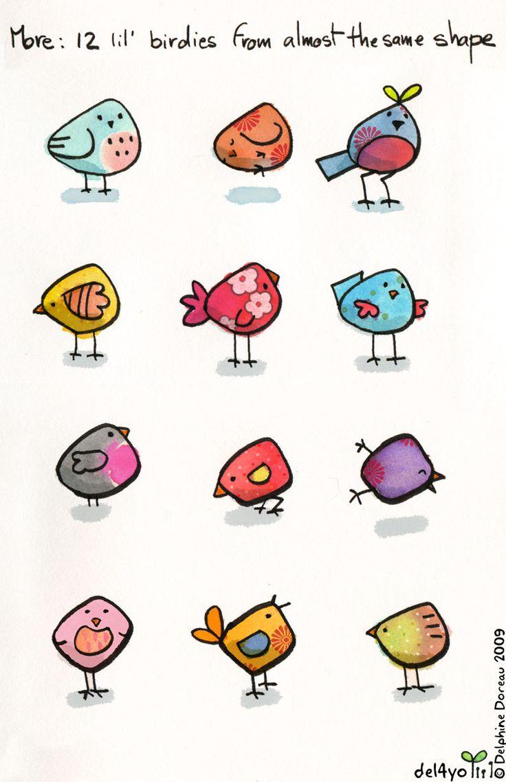 De lieve vogeltjes komen van deze blog: . http://del4yo.squarespace.com/non-dairy-diary/2009/8/5/dessine-moi-un-oiseau.html Deze zi...