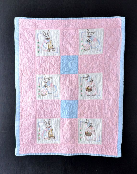Vintage Baby Quilt  Embroidered Bunnies  Pink and Blue