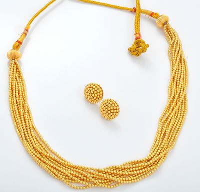 Multi Strands Golden beads Necklace with tops -traditional Maharashtrian jewelry