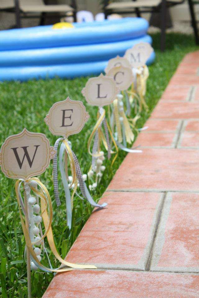 Yellow, baby blue, and grey Sunshin' skies Birthday Party Ideas | Photo 40 of 40 | Catch My Party