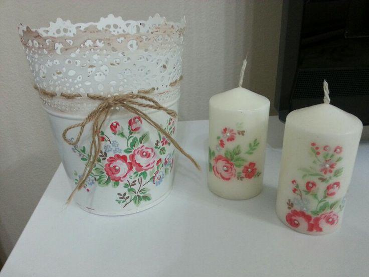 Ikea flower pot and candle (ikea saksının ve mumların peçete dekopajla değişimi)