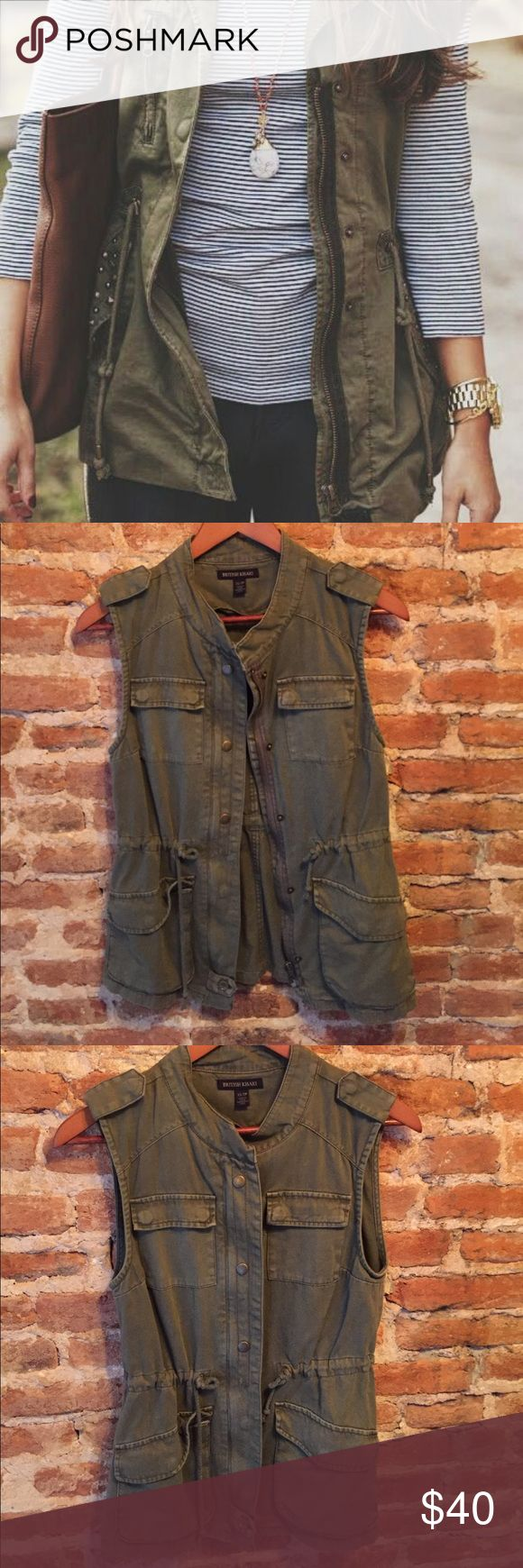 """•British Khaki• Military Green Vest British Khaki Military Green Vest in Excellent Used Condition. Purchased at a Boutique. Cinched Waist. Four Pockets. When Laying Flat: Bust Measures Approximately 15"""", Length 25.5"""" British Khaki Jackets & Coats Vests"""