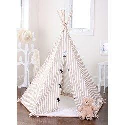 Kids Taupe Teepee Play Tent