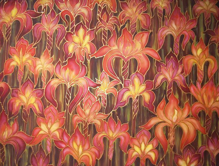 Rich red Irises hand painted silk original art