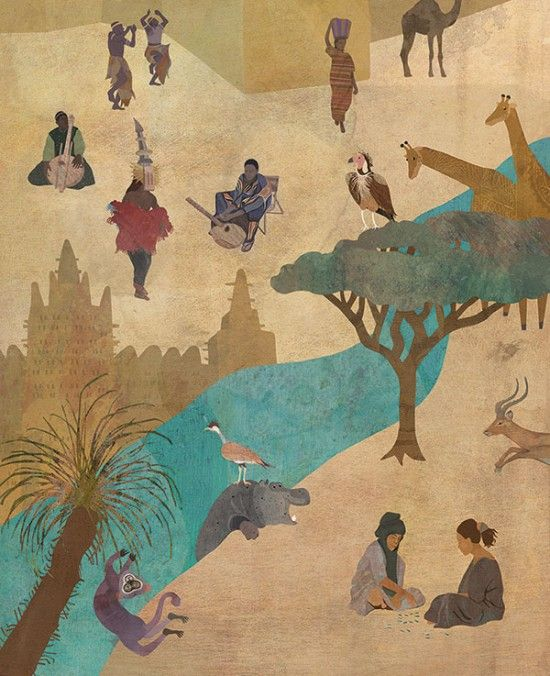 Kinderhilfswerk Mali • Afrika, Wimmelbild, Safari, Giraffe, Illustration, Jana Walczyk
