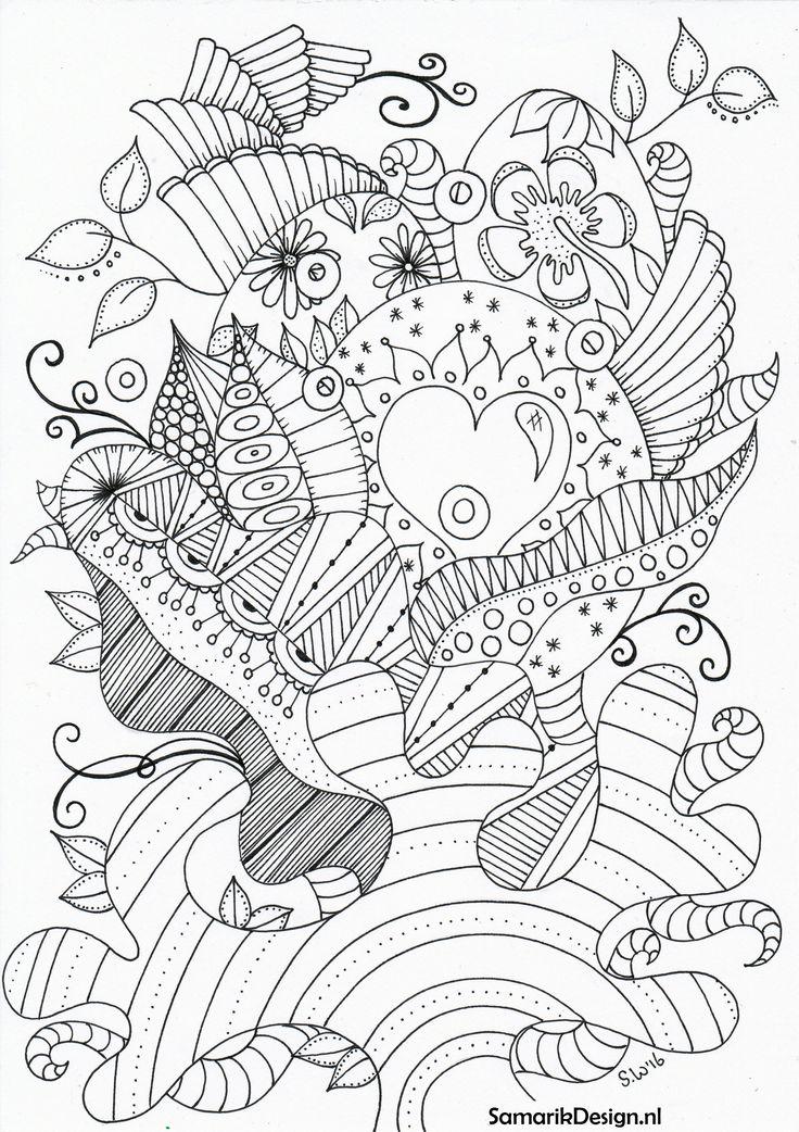Kleurplaten Voor Volwassenen Colouring For Adults By Sandywijsbeek Kat Vis See More Pasen Paaseieren Doodle