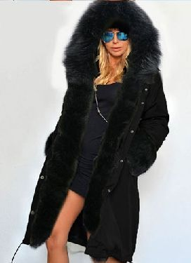 Zipper Hooded Faux Fur Cuff Long Cotton Coat