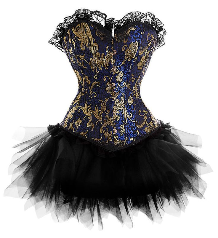2016 Nouvelle Robe Costume Burlesque Or Bleu Victorien Brocade Corset & Tutu Jupe Outfit Partie Halloween De Noël S-6XL