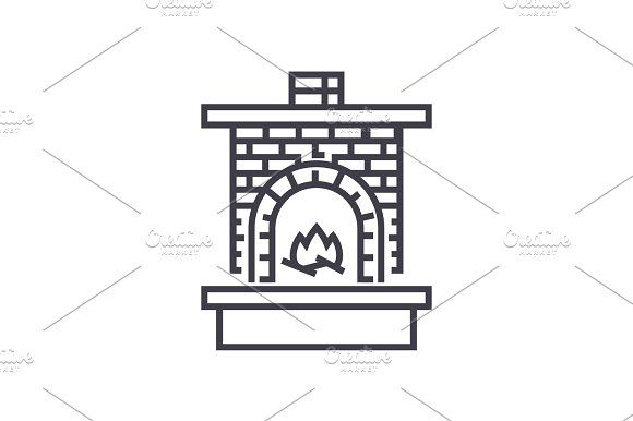 masonry heater,fireplace with brick chimney with fire vector line icon, sign, illustration on background, editable strokes by urban icon on @creativemarket