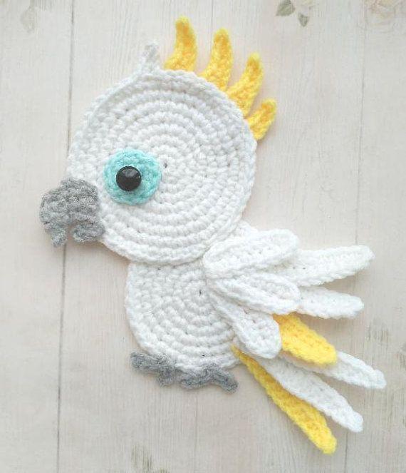 PATTERN Tropical Birds Applique Crochet Patterns PDF Toucan Cockatoo Parrot Red Cardinal Crochet App