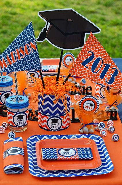 Orange / Blue Graduation / End of School Party Ideas