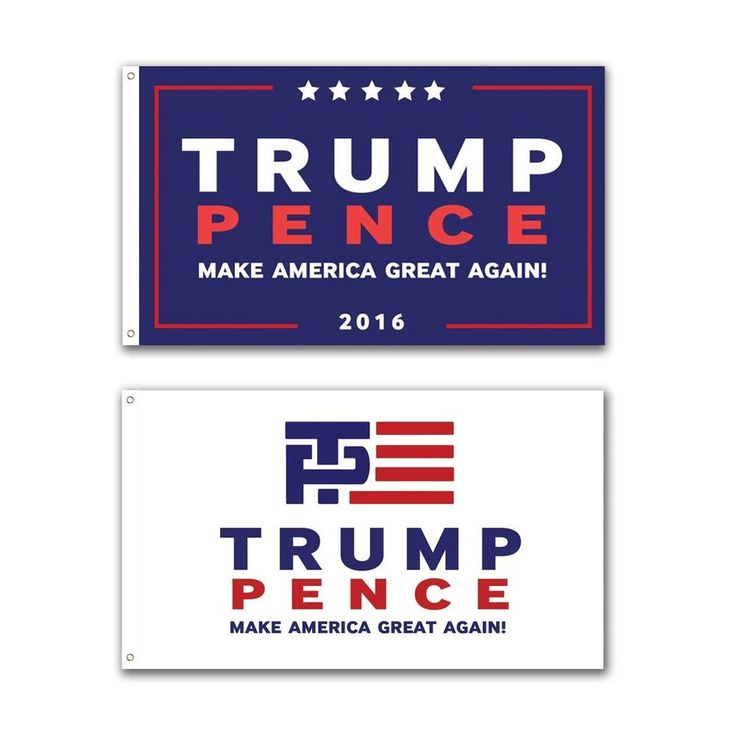 2 Pack -- Trump Pence 3x5 foot Donald Trump Flag for President 2016 MAKE AMER...