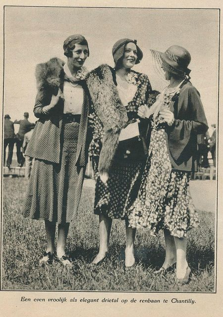 2 on left, suits w/ button blouses, jackets ,fur embellished, pumps all. Notes look like German ALady. at the races #vintage #1930s