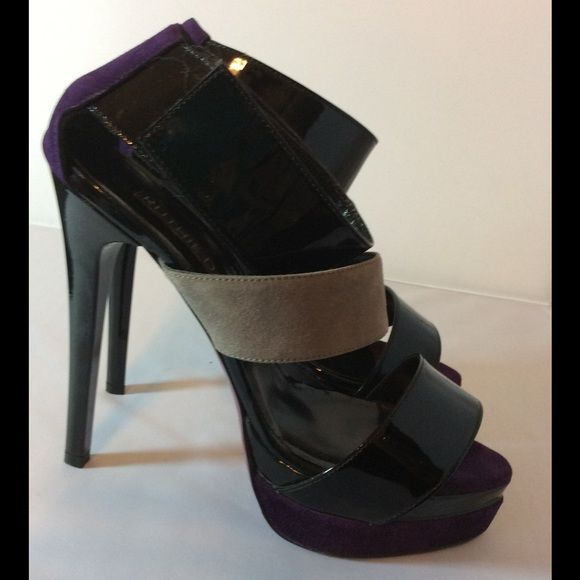 Ruthie Davis Multicolor Platform Heels Ruthie Davis colorblock sexy caged platform shoe  Gray purple and black- ankle strap is velcro so easy on and off. Comes new in box with dustbag. MSRP 725  5 inch heel with a 1 1/2 inch double platform Ruthie Davis Shoes Platforms