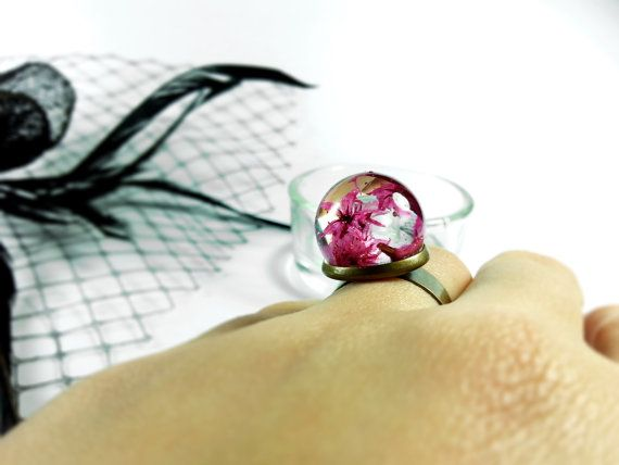 Pink flower ring Dried flower sphere Resin orb ring by ByEmilyRay