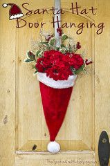 Santa Hat Door Hanging with Flowers | by The Spohrs Are Multiplying...