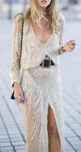 Embellished gold beaded party dress.