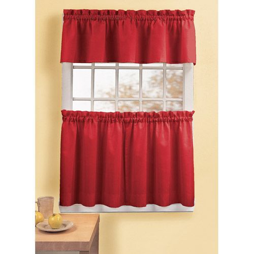 Charming Red Kitchen Curtains Panel Sets