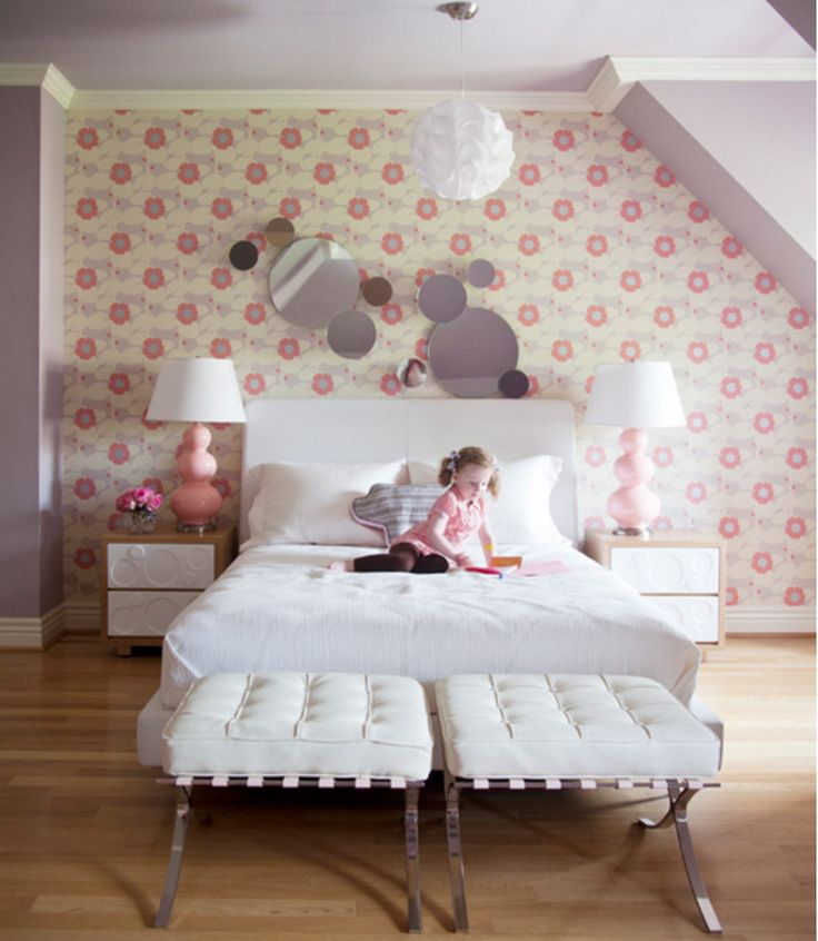 Love the wallpaper simple bedding and benches at bottom of bed could do single queen bed for - Bench at bottom of bed ...