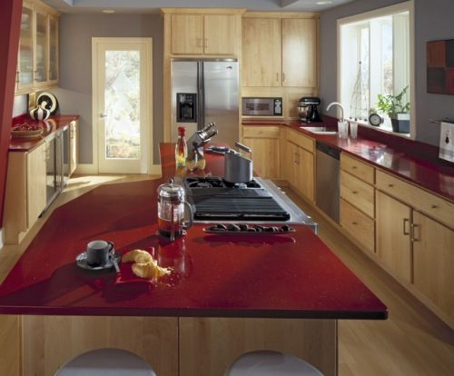 This Is A Great Example Of Maple Cabinetry With Red Quartz Counter Tops Description From