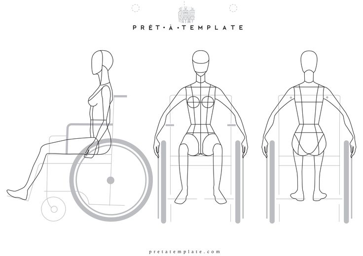 Wheelchair Woman body figure fashion template (D-I-Y your own Fashion…