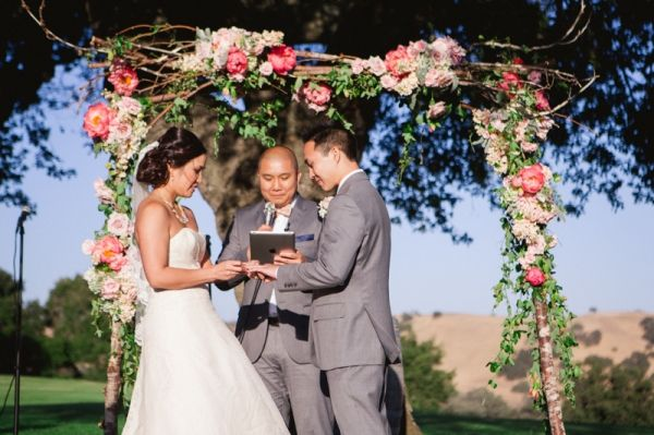 Ceremony Arbor With Flower Garland | photography by http://christinefarah.com