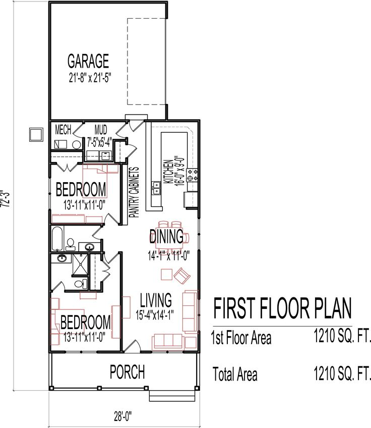 Small low cost economical 2 bedroom 2 bath 1200 sq ft for One floor house plans