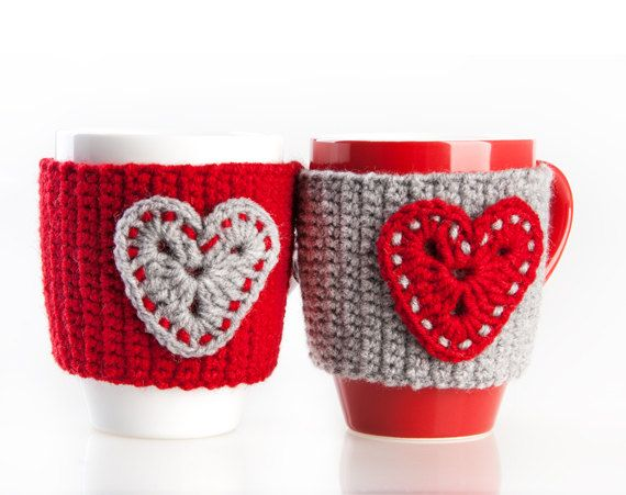 Crochet mug cozy warmer / Mug warmer, crochet heart, cup cozy, red, gray, hand crocheted, winter accessories, tea cozy. Set of 2 by LittleKnittedThing on Etsy https://www.etsy.com/listing/152026932/crochet-mug-cozy-warmer-mug-warmer