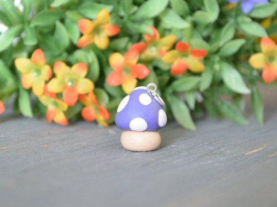Purple Mushroom Charm, Polymer Clay Mushroom Charm, Mushroom Charm