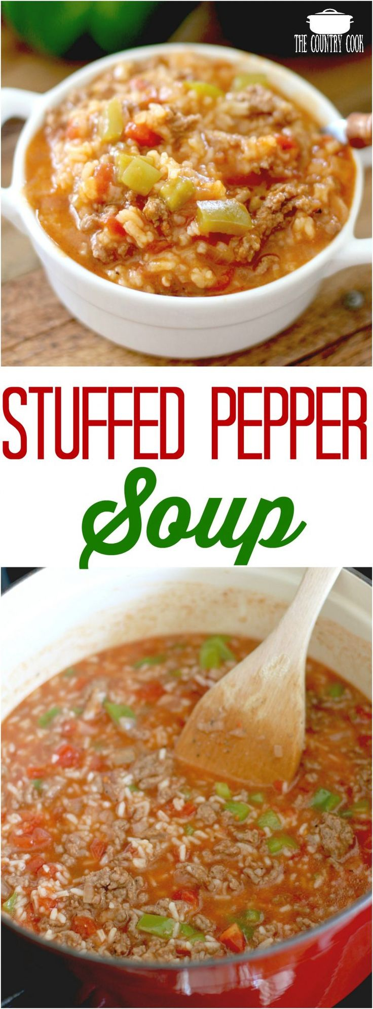 Stuffed Pepper Soup recipe from The Country Cook #soups #dinner #rice #ideas #easy