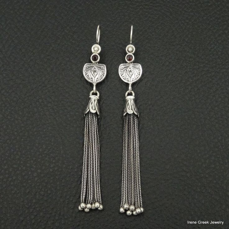 MEDIEVAL STYLE NATURAL STYLE 925 STERLING SILVER GREEK HANDMADE ART EARRINGS #IreneGreekJewelry #ChainLink