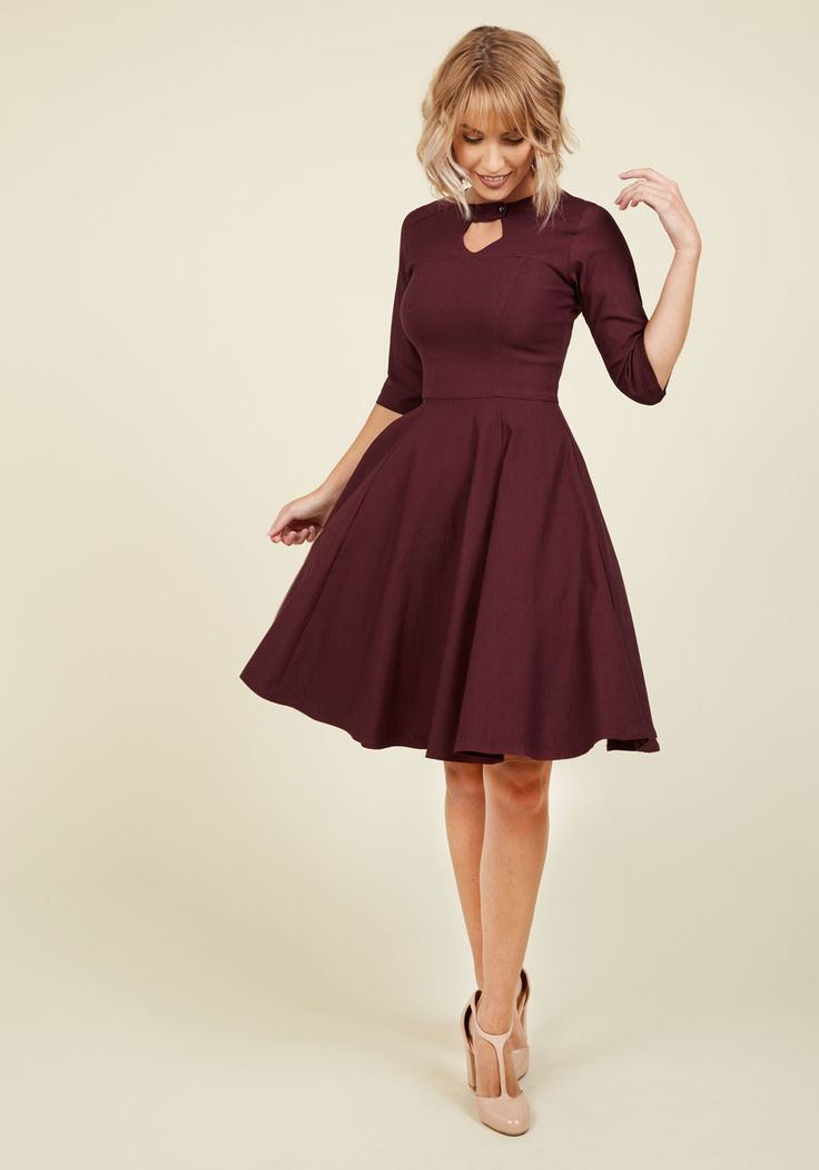 Nostalgically Nuanced A-Line Dress. This maroon dress provides the perfect opportunity to indulge in the era of your ways. #red #modcloth