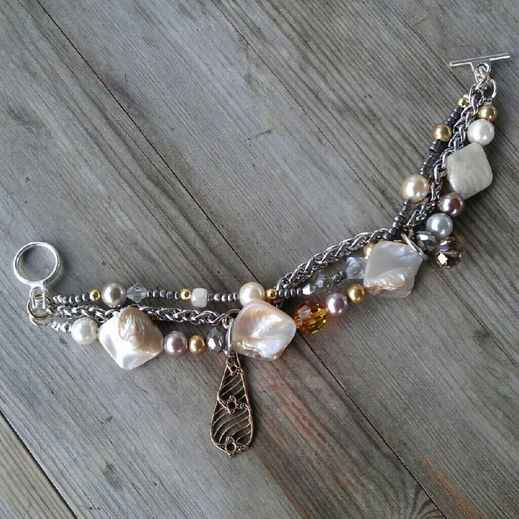 Mix of gold, silver, shell and pearls