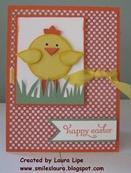 handmade Easter card from Smiles, Laura ... cute punch art chick in the grass ...