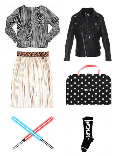 Star Wars Inspiration Pictured: Popupshop Long Sleeve Tee, Molo Skirt, Jacket and Bag, Loud Apparel Socks www.alegremedia.co.uk #alegremedia