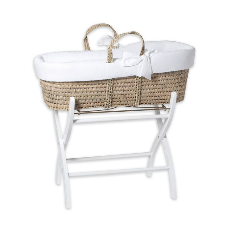 Tartine et Chocolat Woven moses basket and wooden stand-product