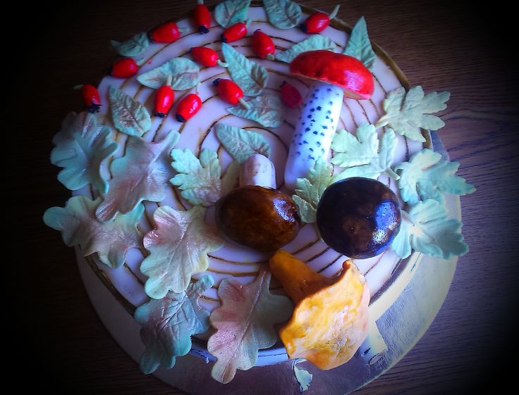 Mushroom golden wedding anniversary cake