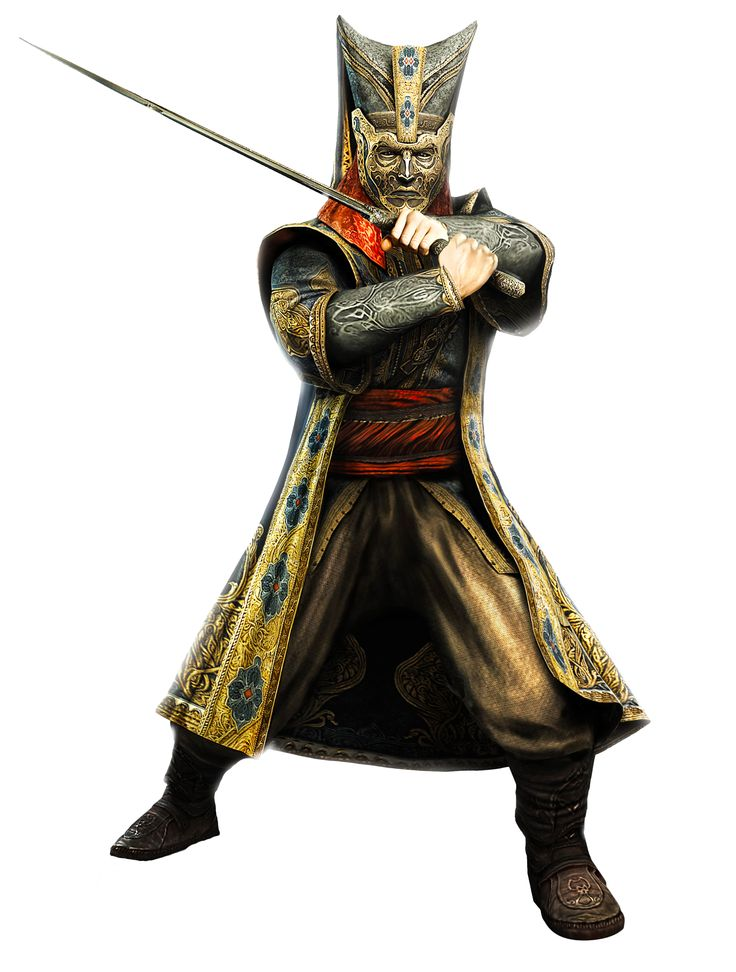 This is a picture of a Janissary warrior holding a sword in s kind of defensive position, The thing that stands out to me is that they are wearing a metal mask of a face to cover their face, but the face mask that they have on is of a creepy evil looking face.