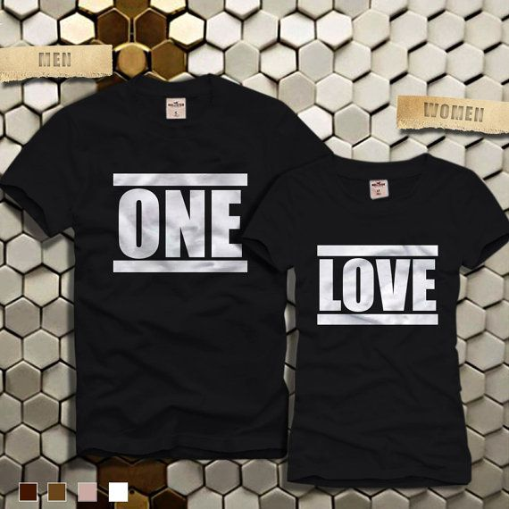 One Love Cute Matching Couples Tshirt  One Love Couple  by ELBOEW