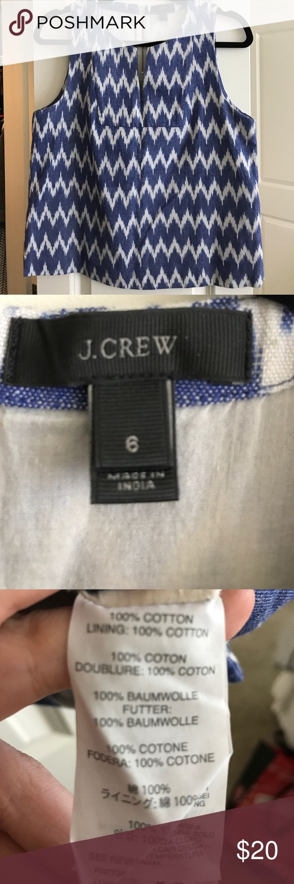 J.Crew blue and white Ikat top J.Crew blue and white Ikat top. Fits true to size. Perfect with white jeans! Only worn once! J. Crew Tops